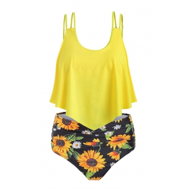 Lovely Print Yellow Plus Size Two-piece Swimsuit
