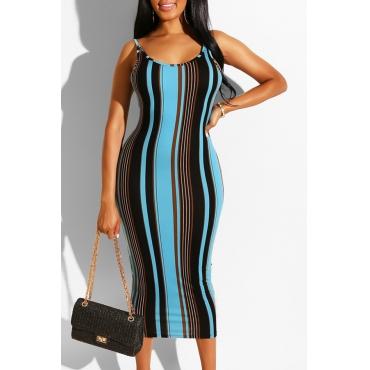Lovely Sexy Sleeveless Striped Print Blue Mid Calf Dress