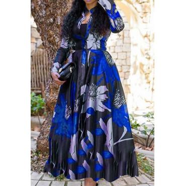 Lovely Casual Print Blue Ankle Length Dress