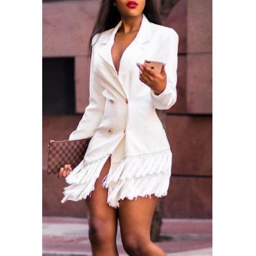 Lovely Trendy Buttons Design White Blazer