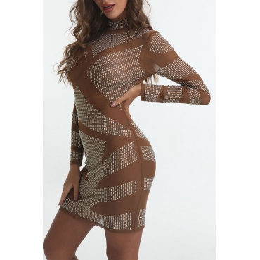 Lovely Sexy Turtleneck See-through Silver Mini Dress