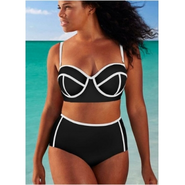Lovely Patchwork White Plus Size Two-piece Swimsuit