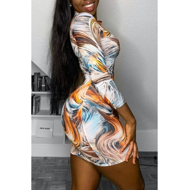 Lovely Trendy Print Multicolor Mini Dress
