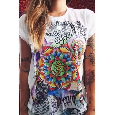 Lovely Chic Basic  Print White T-shirt