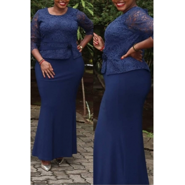 Lovely Casual Patchwork Dark Blue Maxi Trumpet Mermaid  Plus Size Dress
