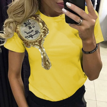 Lovely Casual Basic Yellow T-shirt
