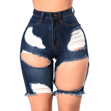 Lovely Casual Hollow-out Blue  Shorts