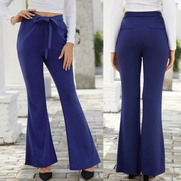 Lovely Casual Drawstring Loose Blue Pants