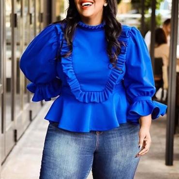 Lovely Chic Flounce Blue Plus Size Blouse