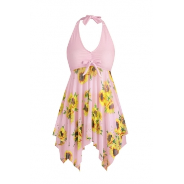Lovely Print Pink Plus Size Two-piece Swimsuit
