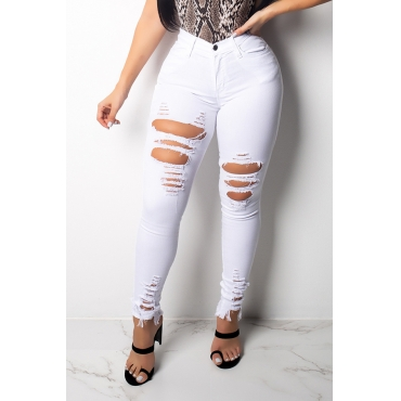 Lovely Trendy Hollow-out White Jeans