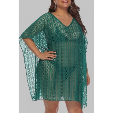 Lovely Chic See-through Green Plus Size Beach Blouse