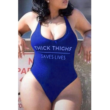 Lovely Backless Royal Blue Plus Size One-piece Swimsuit