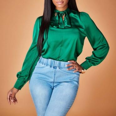 Lovely Chic Knot Design Green Blouse