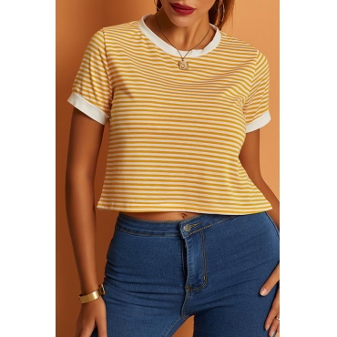 Lovely Casual Striped Yellow T-shirt