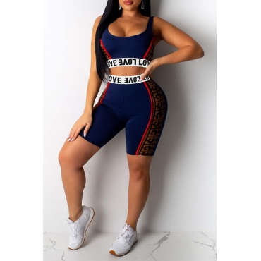 Lovely Casual Letter Print Blue Two-piece Shorts Set