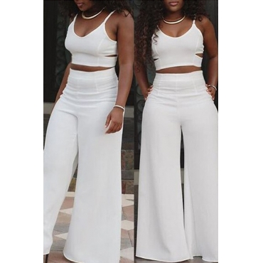 Lovely Sexy V Neck Spaghetti Strap Sleeveless Hollow-out White Polyester Two-piece Pants Set