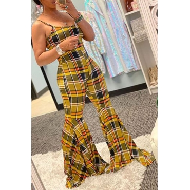 Lovely Casual Striped Print Yellow One-piece Jumpsuit