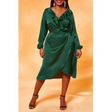 Lovely Chic Flounce Design Army Green Knee Length Plus Size Dress