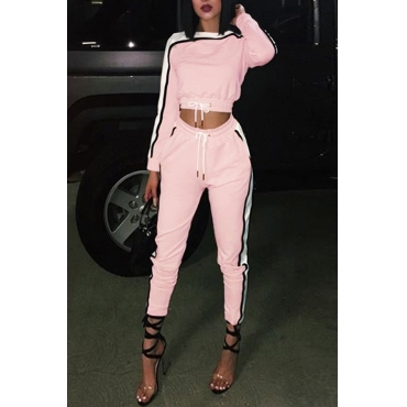 Lovely Casual Patchwork Pink Two-piece Pants Set
