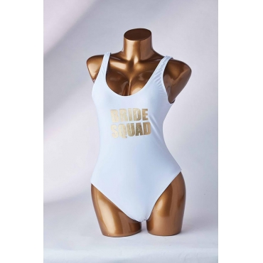 Lovely Letter Print White One-piece Swimsuit