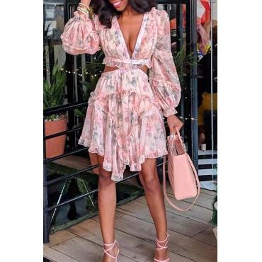 Lovely Chic Deep V Neck Pink Knee Length Dress