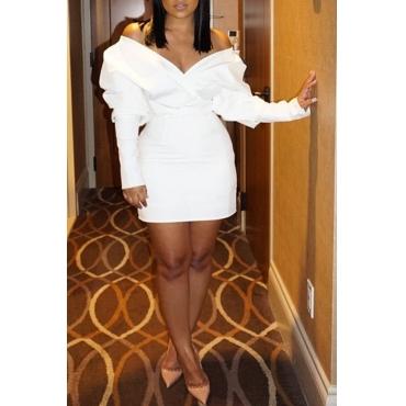 Lovely Chic V Neck White Mini Dress