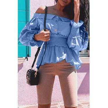 Lovely Casual Flounce Design Blue Blouse