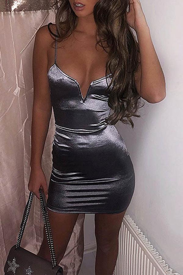 Lovely Sexy V Neck Silver Mini Dress