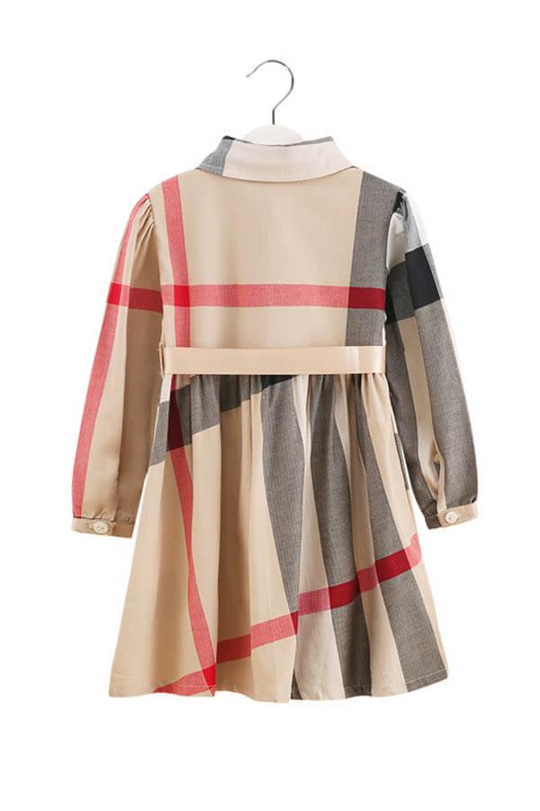Lovely Sweet Plaid Print Apricot Girl Mini Dress