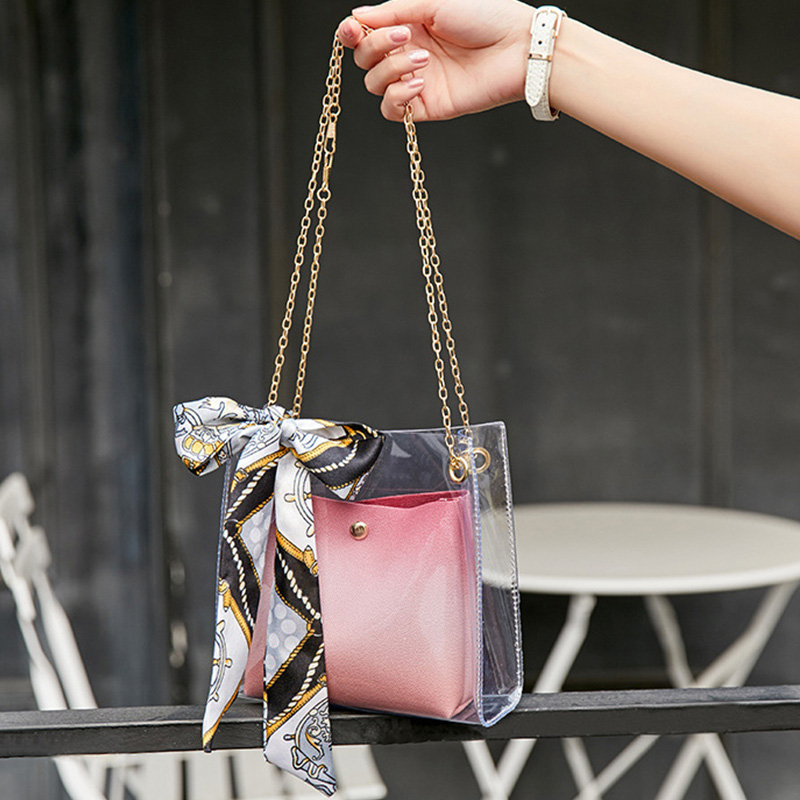 Lovely Chic See-through Pink Messenger Bag