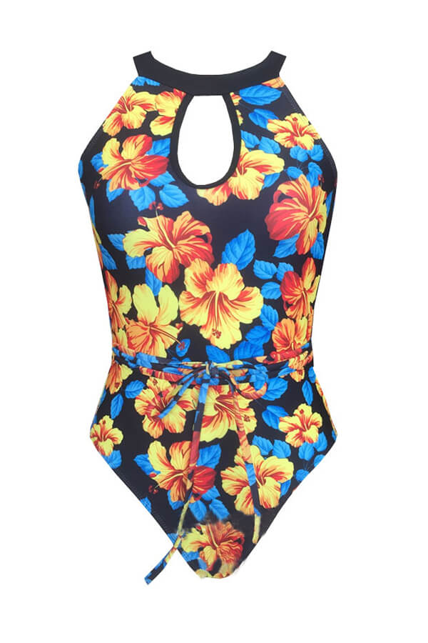 Lovely Bohemian Print Yellow One-piece Swimsuit