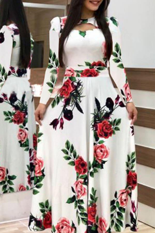Lovely Bohemian Print White Maxi Dress