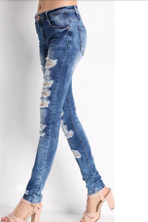 Lovely Chic Broken Hole Blue Jeans