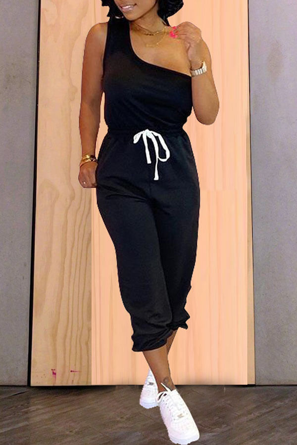 Lovely Casual One Shoulder Black Two-piece Pants Set фото