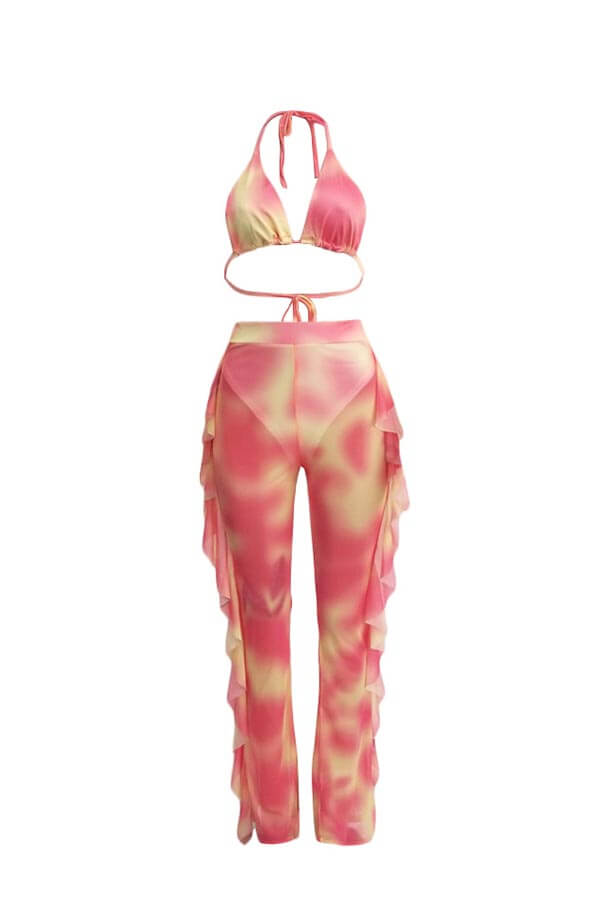 Lovely Printed Ruffle Design Pink Two-piece Swimwear