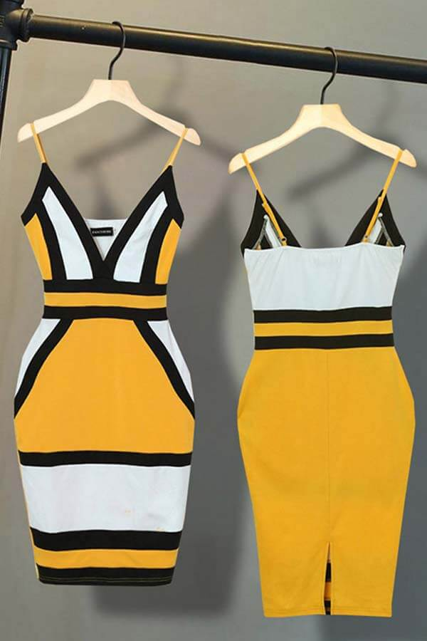 Lovely Casual Patchwork Yellow Mini Dress
