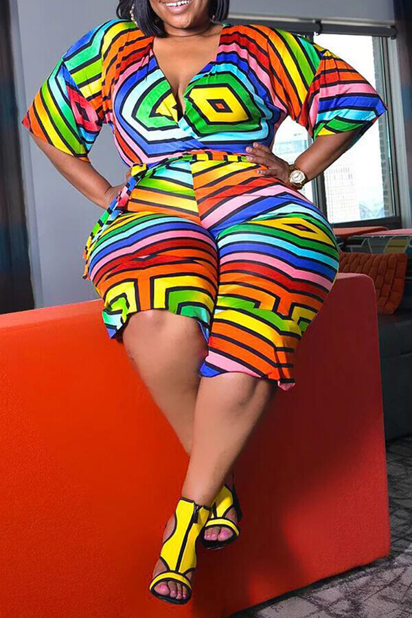 Lovely Trendy Rainbow Print Multicolor Plus Size One-piece Jumpsuit