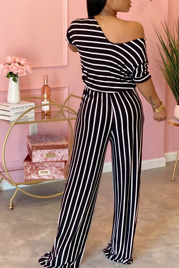 Lovely Trendy Striped Print Blue One-piece Jumpsuit