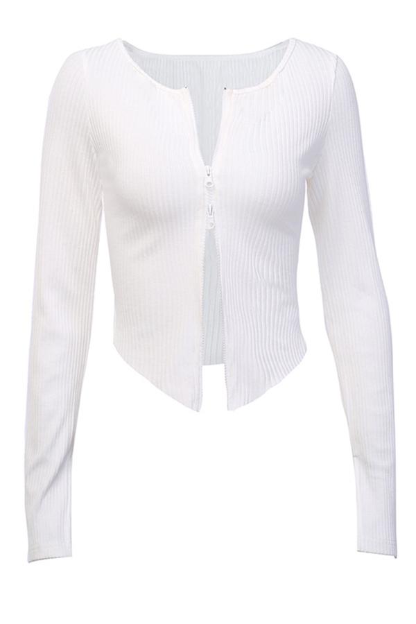Lovely Casual Zipper Design White Cardigan