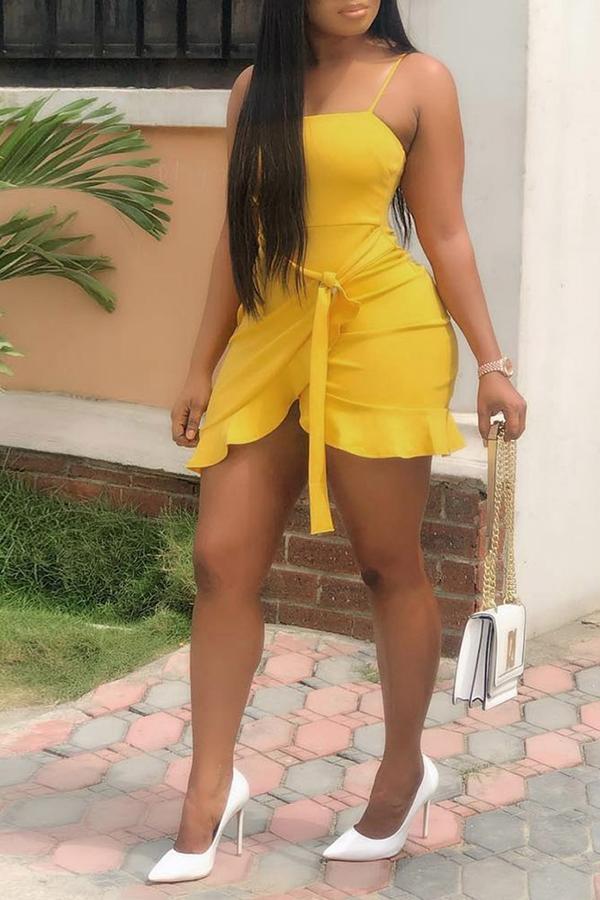 lovelywholesale / Lovely Sweet Flounce Design Yellow Mini Dress