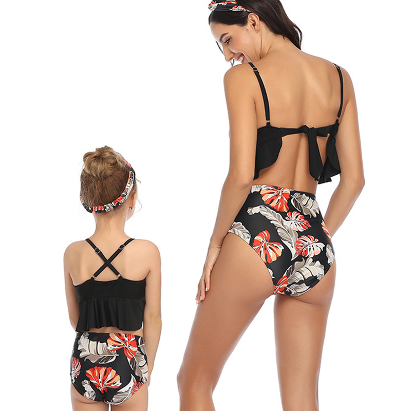 Lovely Hollow-out Black Girl Bathing Suit Two-piece Swimsuit