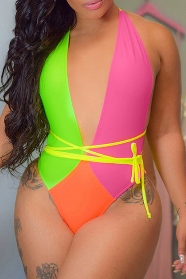 Lovely Deep V Neck Patchwork Lace-up Multicolor One-piece Swimsuit