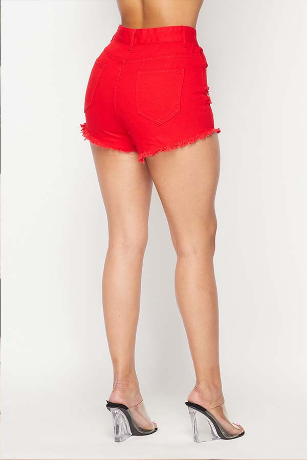 Lovely Casual Broken Hole Red Shorts