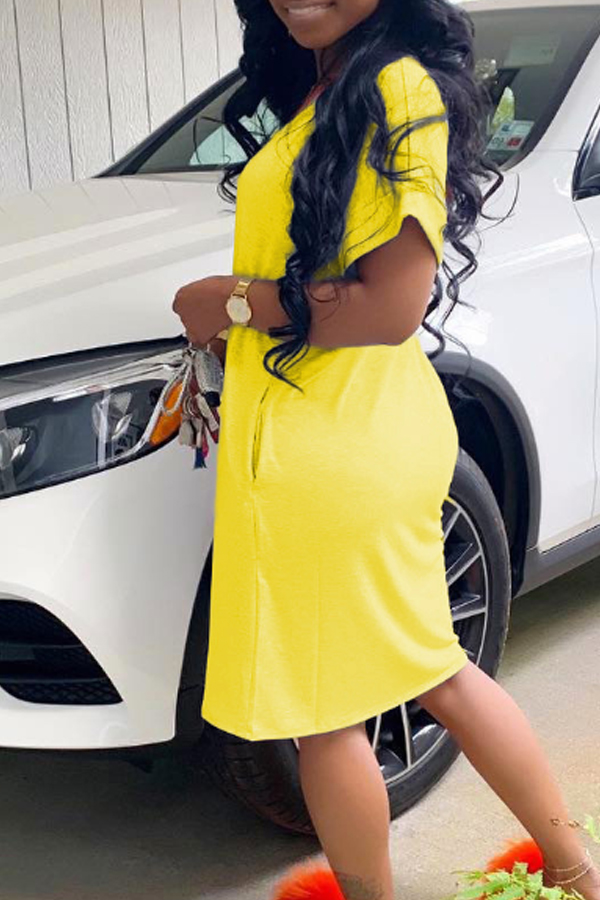 Lovely Casual Basic Yellow Knee Length Dress