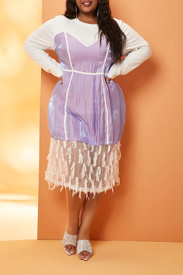Lovely Casual Patchwork Purple Knee Length Plus Size Dress