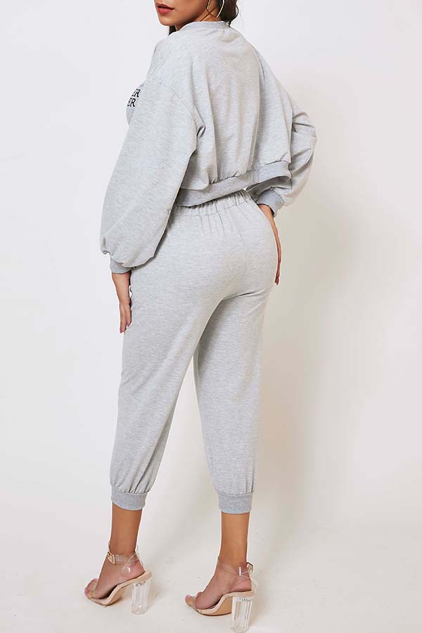 Lovely Casual Letter Print Grey Two-piece Pants Set