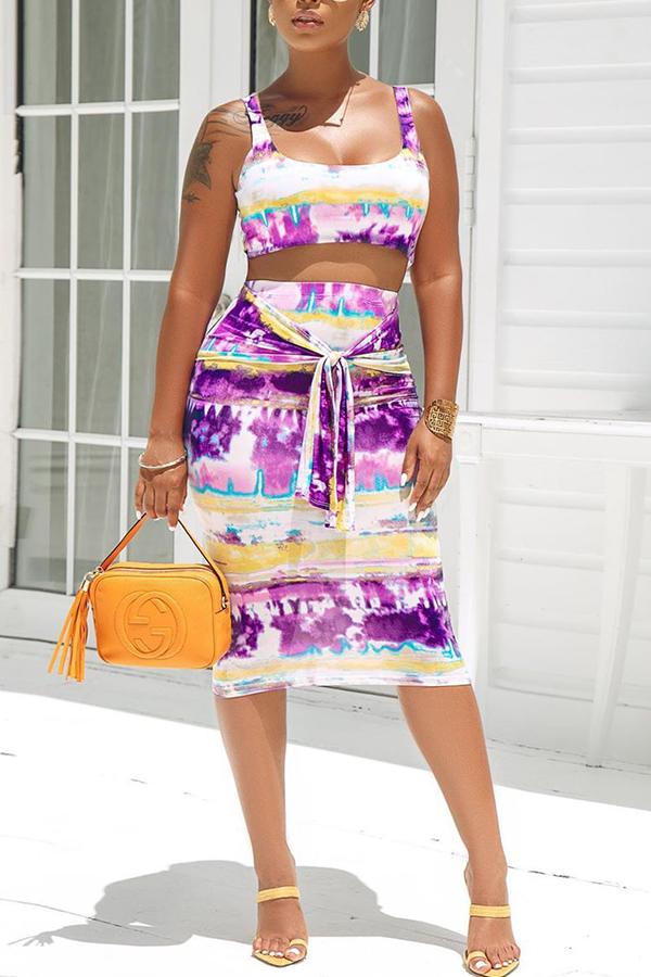 Lovely Casual Tie-dye Purple Two-piece Skirt Set