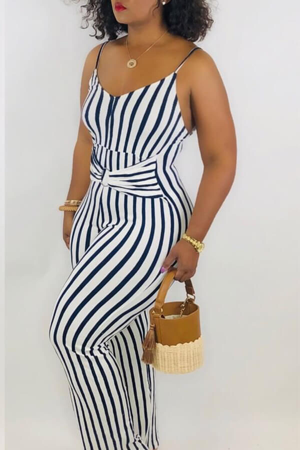 Lovely Casual Striped Navy Blue One-piece Jumpsuit