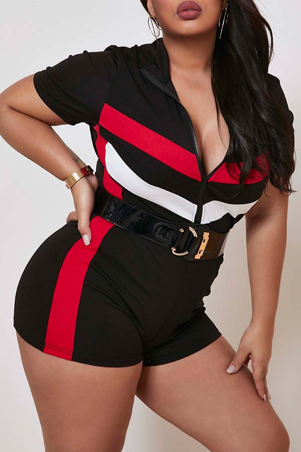 Lovely Casual Patchwork Black Plus Size One-piece Romper